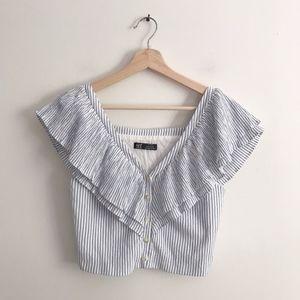Zara Ruffle V Neck Stripe Button Crop Blouse